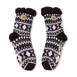 Muk Luk Purple Fairisle Slipper Socks